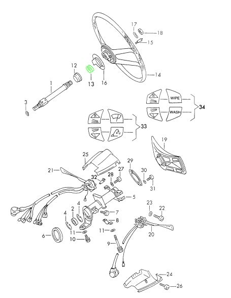 horn parts diagram porsche 911 horn compression for steering wheel