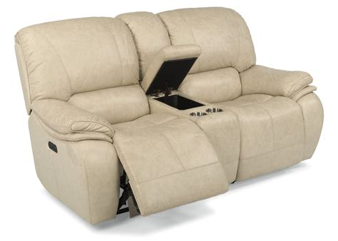 reclining sofa with center console leather loveseat recliner trevino smoke leather power