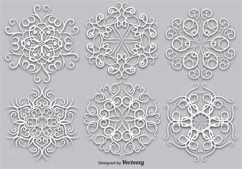 vector set  elegant white snowflakes vector