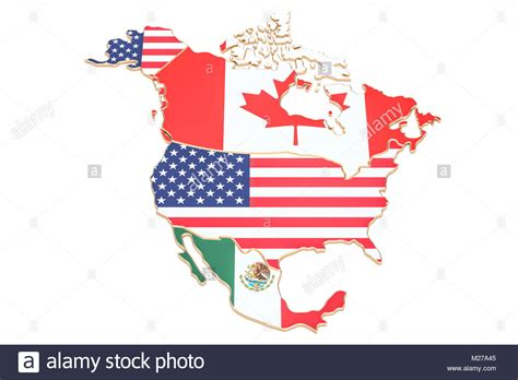 map of usa canada and mexico america map with flags of the usa canada and mexico