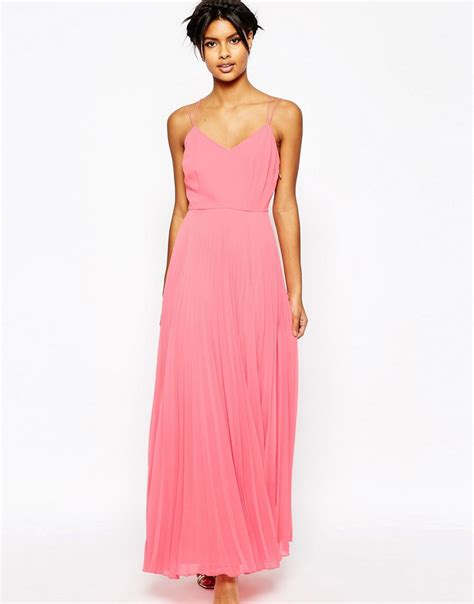 asos woven cami maxi dress with pleated skirt in pink