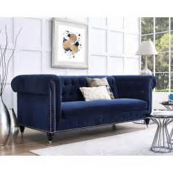 Silver Tufted Sofa Hanny Navy Blue Velvet Nailhead Trim Tufted Sofa Free