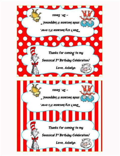 Snack Goodie Bag Label dr seuss birthday treat bag toppers favor bag labels table signs treat bags bags