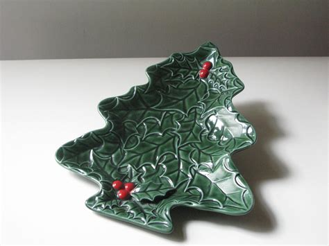vintage lefton ceramic christmas tree dish