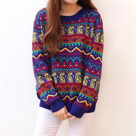 colorful sweaters colorful geometric pattern footprint pullover sweater on