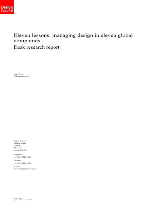layout of research report slideshare design council desk research report