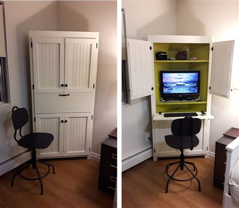 Computer Armoire Corner Best 25 White Corner Computer Desk Ideas On Pinterest Computer Desk Small Space Spare