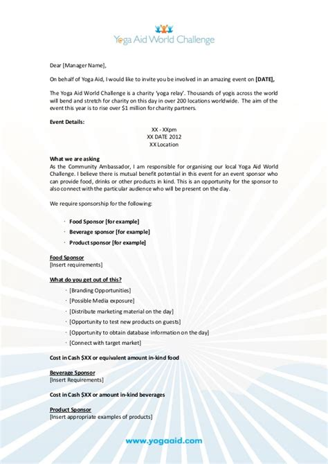 for sponsorship of an event event sponsorship request document