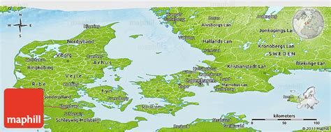 physical map of denmark physical panoramic map of denmark
