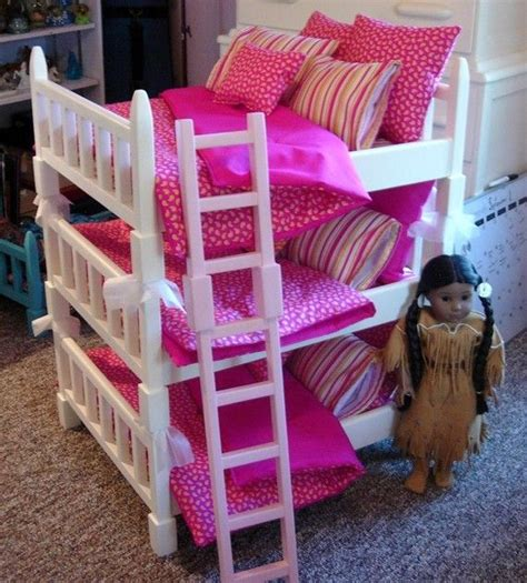 journey doll bed doll bunk bed double sized triple bunk set fits 6