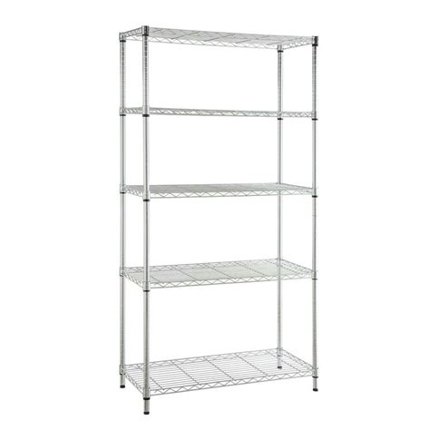 home depot hdx shelves hdx 5 shelf steel storage unit in chrome 21656cps the