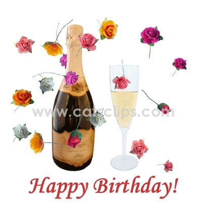 wine birthday gif chagne roses birthday ecard