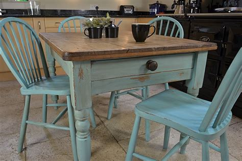 shabby chic farmhouse rustic dining table with 4 stickback