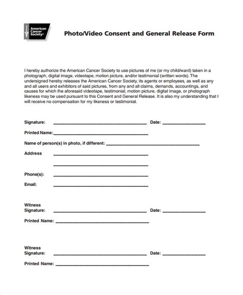 10 Photography Consent Forms Sle Templates Photo And Consent Form Template