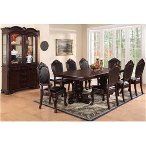 Formal Dining Room Sets With Leather Chairs Poundex Royal Dining Room Formal Dining 9pc Set Table