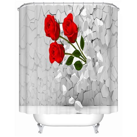 bright red shower curtain bright red roses shower curtains creative customized