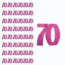 Pink Glitz 70th Birthday Hanging Decoration   Pack of 6
