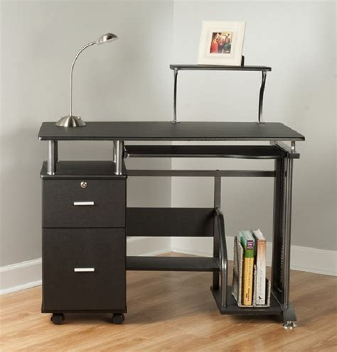 Rothmin Computer Desk With Storage Cabinet Black And Black Computer Desk With Storage