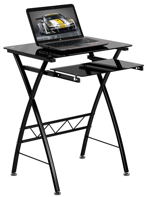 Pull Out Desks by Black Tempered Glass Top Pull Out Keyboard Computer Desk