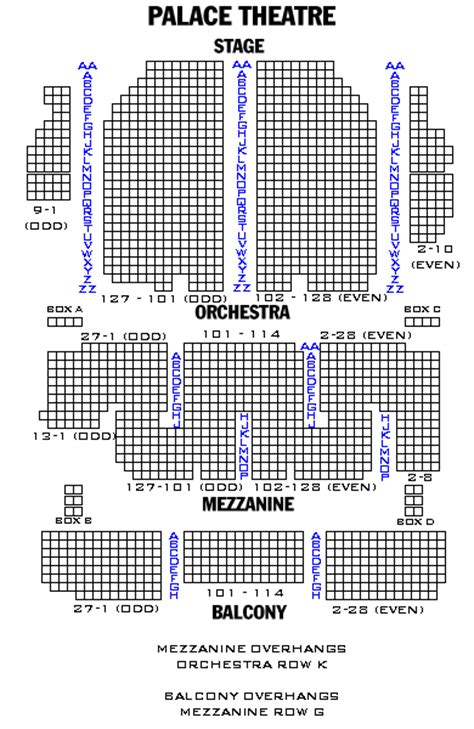 seating chart palace theater nyc palace theatre playbill