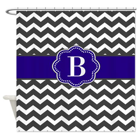 navy chevron shower curtain gray chevron navy monogram shower curtain by