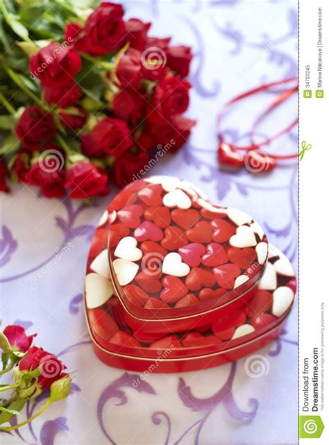 beautiful gifts roses and gifts in valentine day royalty free stock photo