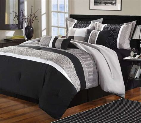 Black Comforter Set by Luxury Home Euphoria Black Grey Embroidered 8
