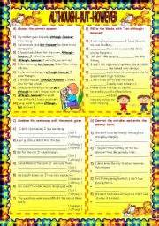 english worksheet although but however