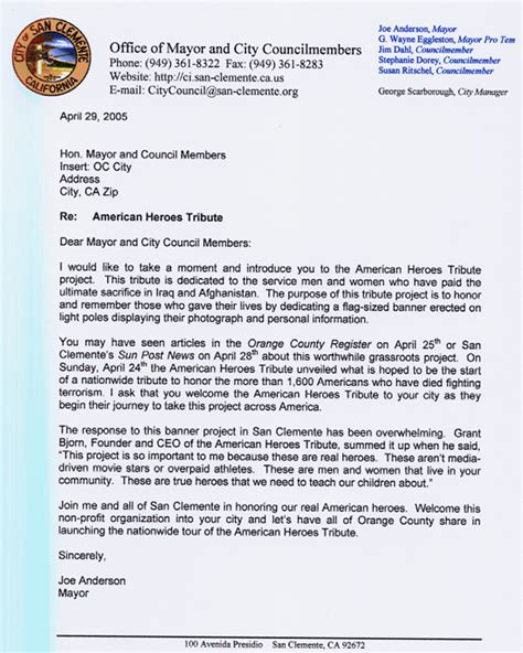 appreciation letter to government official from government officials american heroes tribute