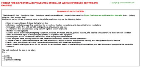 Forest Worker Cover Letter by Forest Inspector And Prevention Specialist Work Experience Certificate