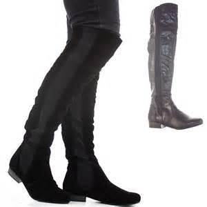 womens thigh high knee flat stretch low heel wide