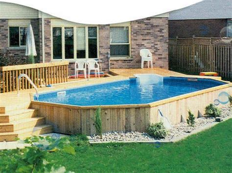 Above Ground Pool Backyard Landscaping Ideas by Outdoor Above Ground Pools Designs Above Ground Swimming