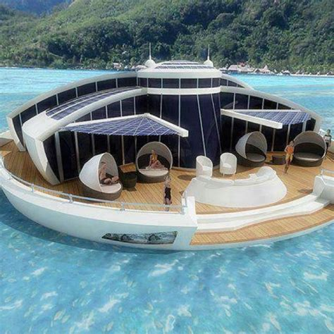 floating boat island solar house boat island favorite places spaces