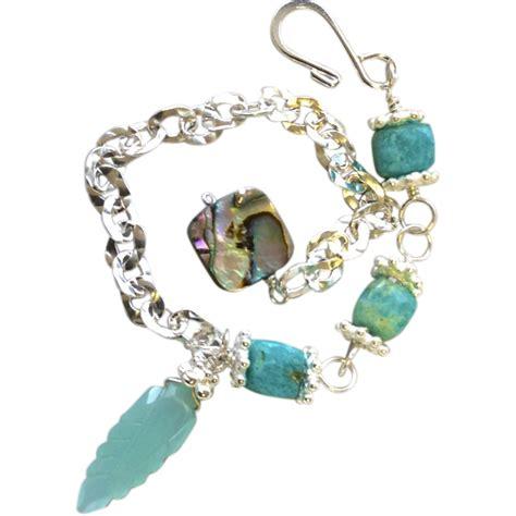 amazonite abalone silver layering bracelet adjustable