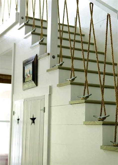 rope banister rail vertical rope railing with boat cleats deck railing