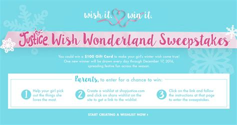 Justice For Girls Gift Cards - shopjustice com wishwonderlandsweepstakes wish wonderland sweepstakes