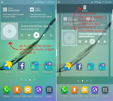 samsung galaxy s6 edge how to add or remove widget in