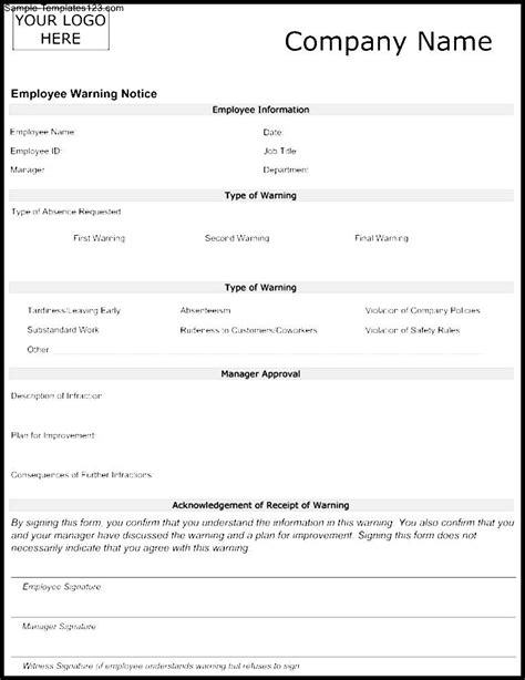 employee warning notice template ms word word excel templates