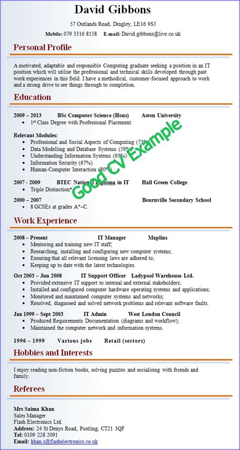 Looking Curriculum Vitae Template by Sle Of A Curriculum Vitae Letters Free Sle