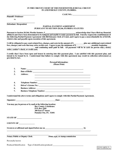 Payment Plan Agreement Letter Template 10 best images of agreement to pay form