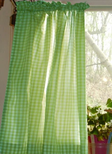 Kitchen Tier Curtains Sets by Lime Green Gingham Kitchen Caf 233 Curtain Unlined Or With