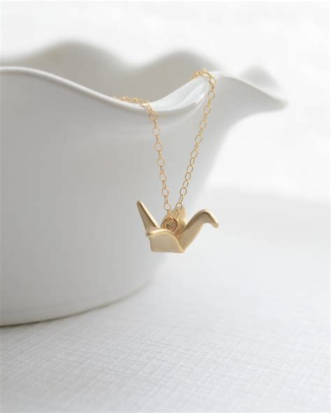 Gold Origami - origami crane necklace folded gold or silver crane