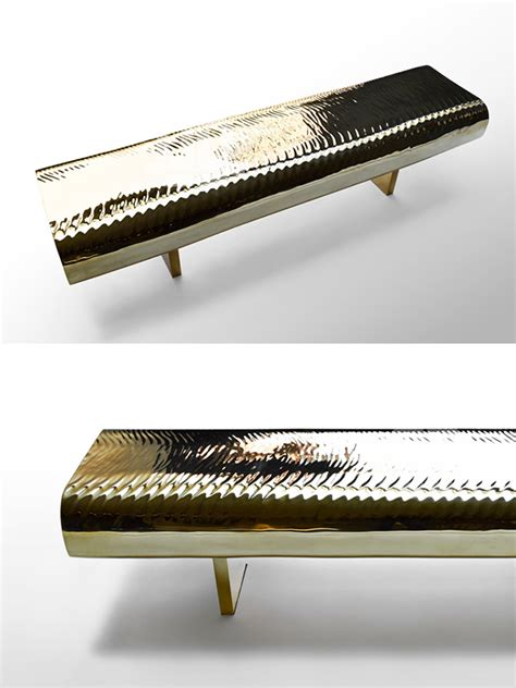 ripple bench japanese artist creates water ripple bench using golden