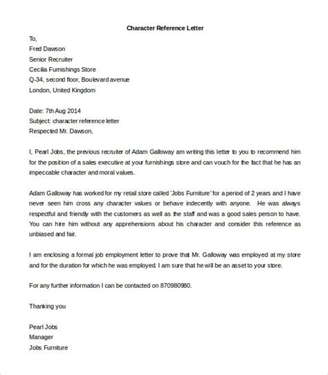 Character Reference Letter Format For Doc 585670 Doc Template For Character Reference Letter