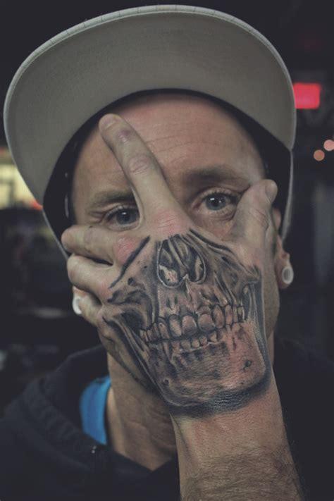sick skull blue ink badass tat