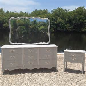 Grey amp white chalk paint french dresser mirror night stand bedroom