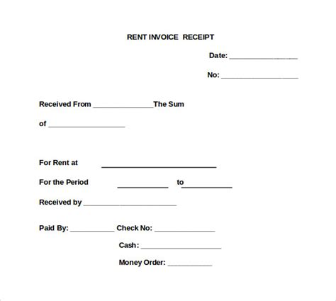 rent invoice receipt template 9 sle rent invoice templates to sle templates