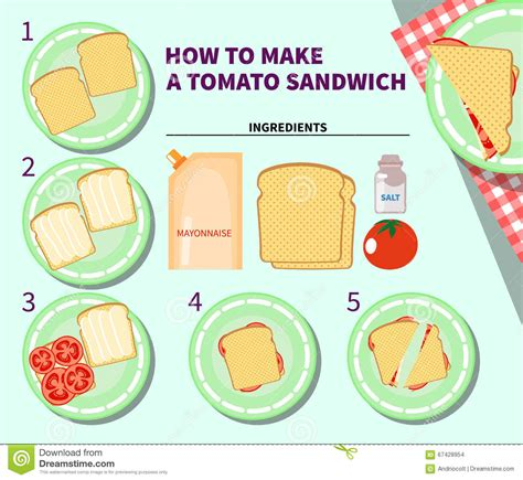 How To Make A Paper Sandwich - recipe infographic for a tomato sandwich stock