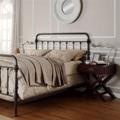 antique finish bronze size metal bed this