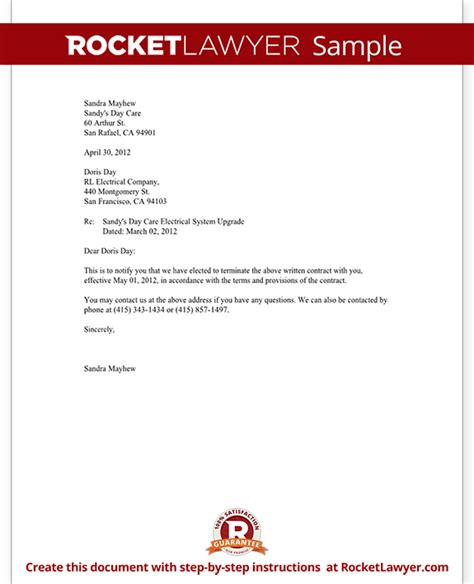Contract Cancellation Letter notice of termination of contract notice letter with sle